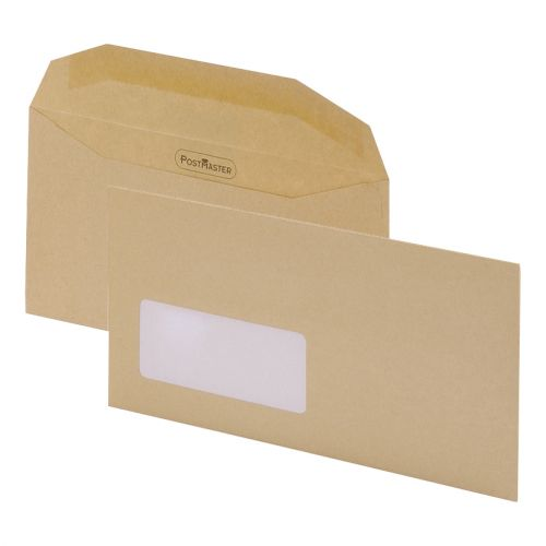 Postmaster Mailing Machine Envelopes DL Wallet Gummed with Window 80gsm Manilla [Pack 500]