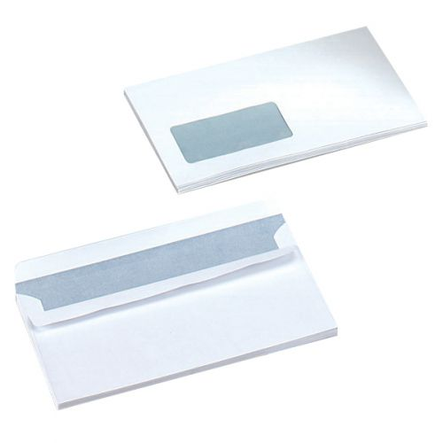 5 Star Office Envelopes PEFC Wallet Self Seal Window 90gsm DL 220x110mm White [Pack 1000]