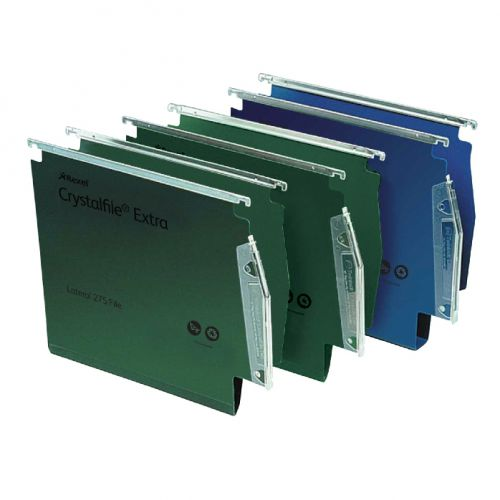 Rexel Crystalfile Extra Lateral File Polypropylene 15mm V-base A4 Green Ref 70637 [Pack 25]