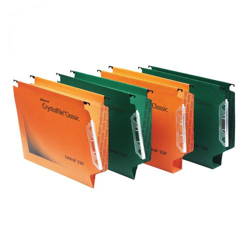 Rexel Crystalfile Classic Linking Lateral File Manilla 50mm Wide-base Foolscap Green Ref 70672 [Pack 25]