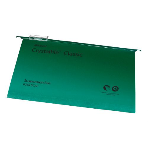 Rexel Crystalfile Classic Suspension File Manilla V-base Foolscap Green Ref 78046 [Pack 50]