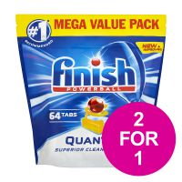 Finish Quantum Dishwasher Powerball Tablets All-in-1 Lemon Ref RB791158 [Pack 64] [2 for 1] Jan-Mar 2020
