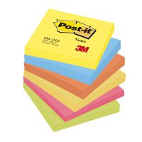Post-it Colour Notes Pad of 100 Sheets 76x76mm Energetic Palette Rainbow Colours Ref 654TFEN [Pack 6]