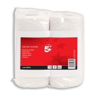 5 Star Facilities Kitchen Towels 2-Ply 55 Sheets per Roll White [Pack 2]
