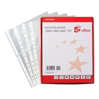 5 Star Punched Pocket Polypropylene Top and Side-opening A4 Glass Clear [Pack 100]