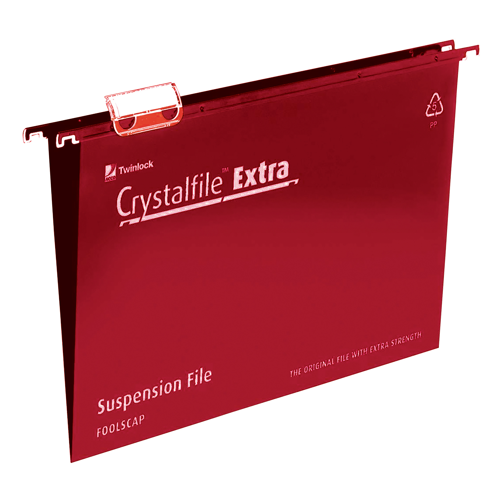 Rexel Crystalfile Extra Suspension File Polypropylene 15mm Foolscap Red Ref 70629 [Pack 25]