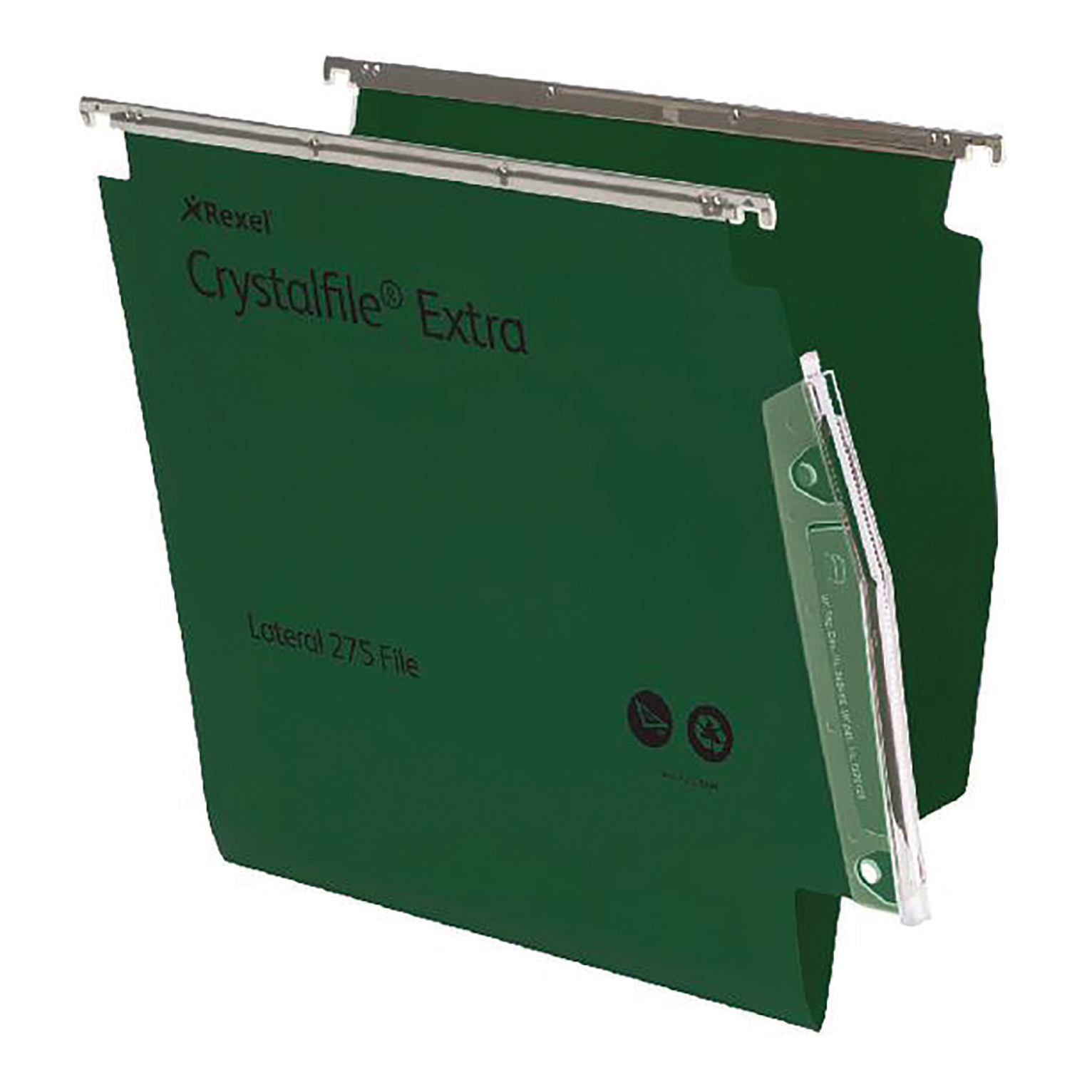 Rexel Crystalfile Extra Lateral File Polypropylene W275mm V-base Green Ref 70637 [Pack 25]