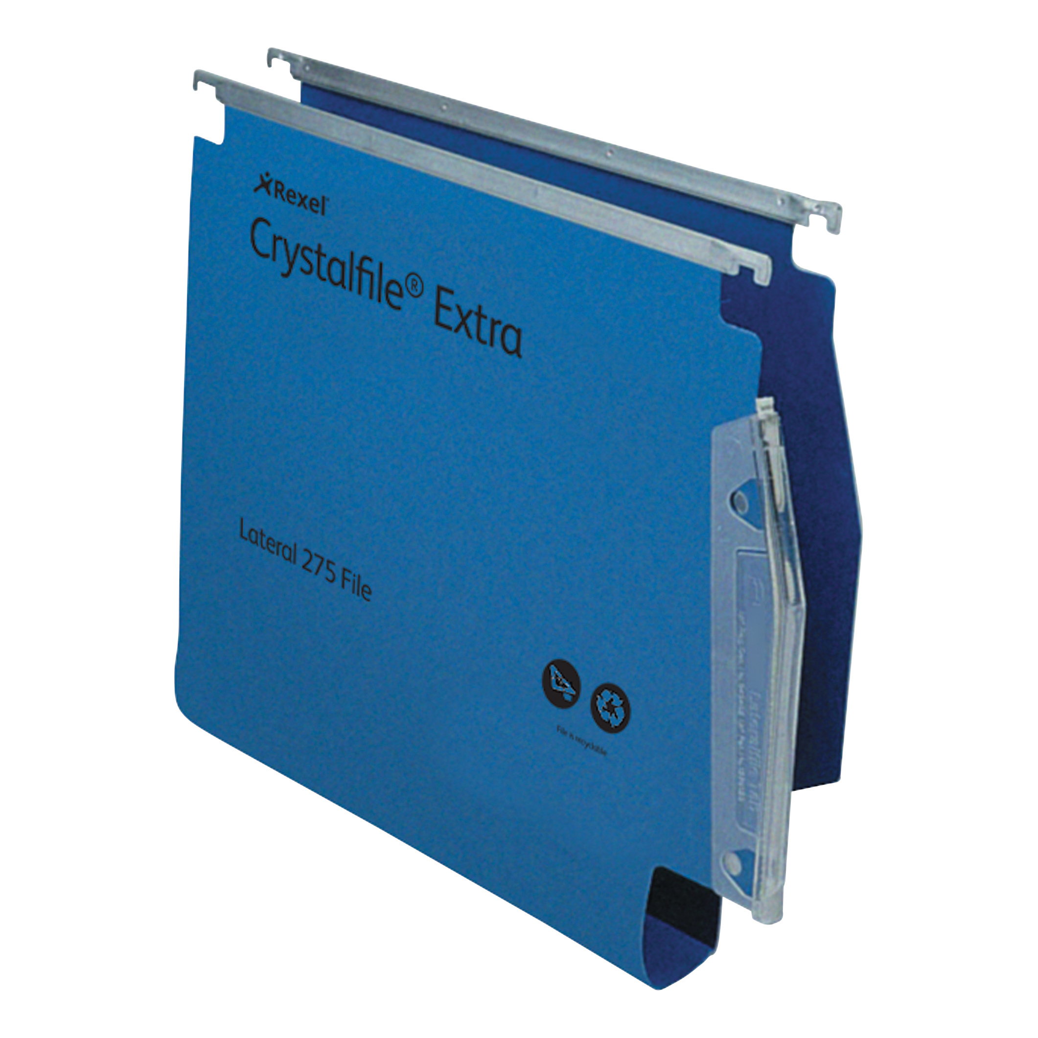 Rexel Crystalfile Extra Lateral File Polypropylene W275mm 30mm Base Blue Ref 70642 [Pack 25]