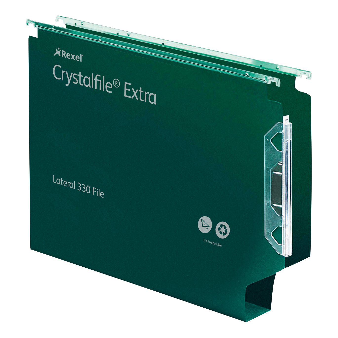 Rexel Crystalfile Classic Lateral File Manilla 330mm 50mm Base Green Ref 70672 [Pack 25]