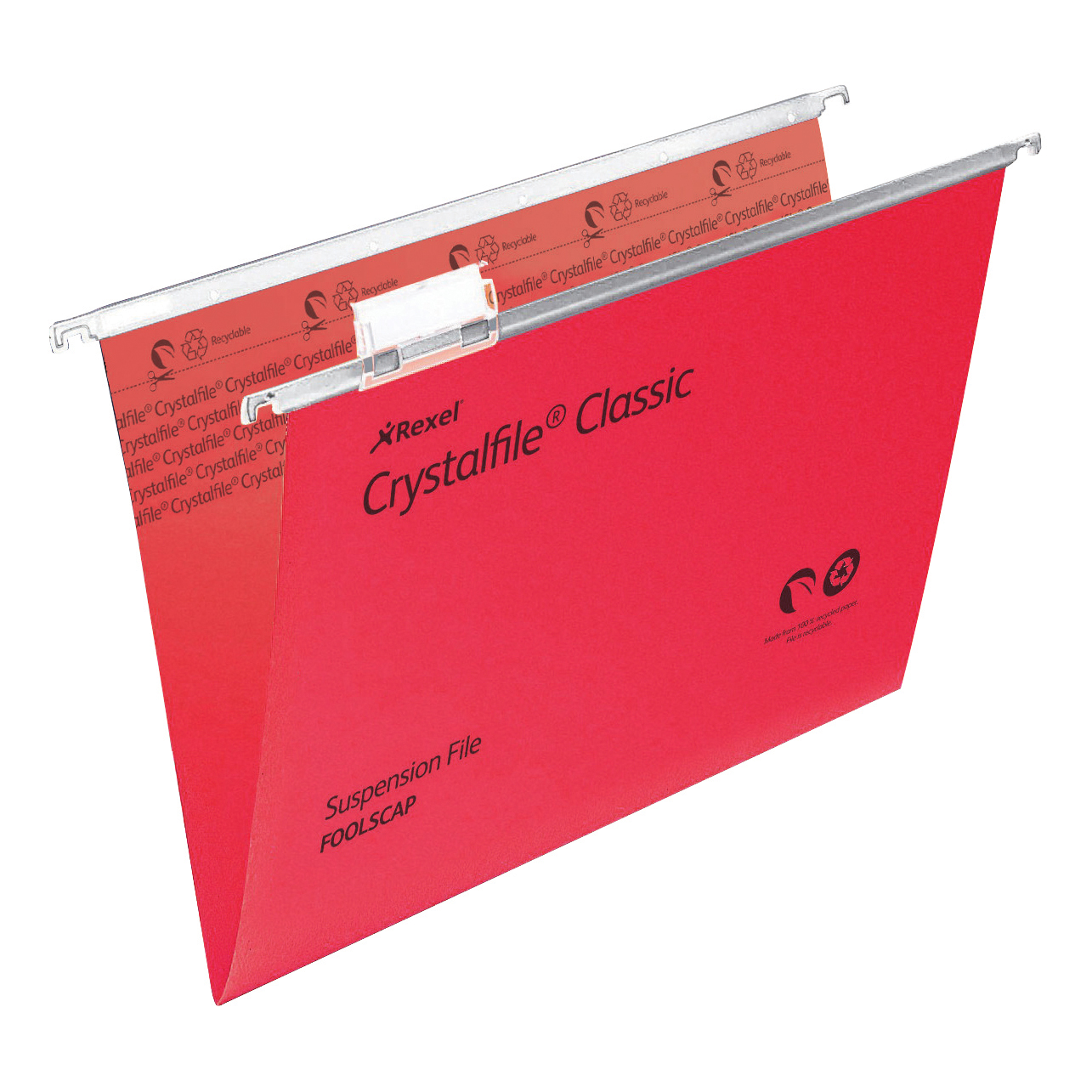 Rexel Crystalfile Classic Suspension File Manilla V-base 15mm Foolscap Red Ref 78141 [Pack 50]