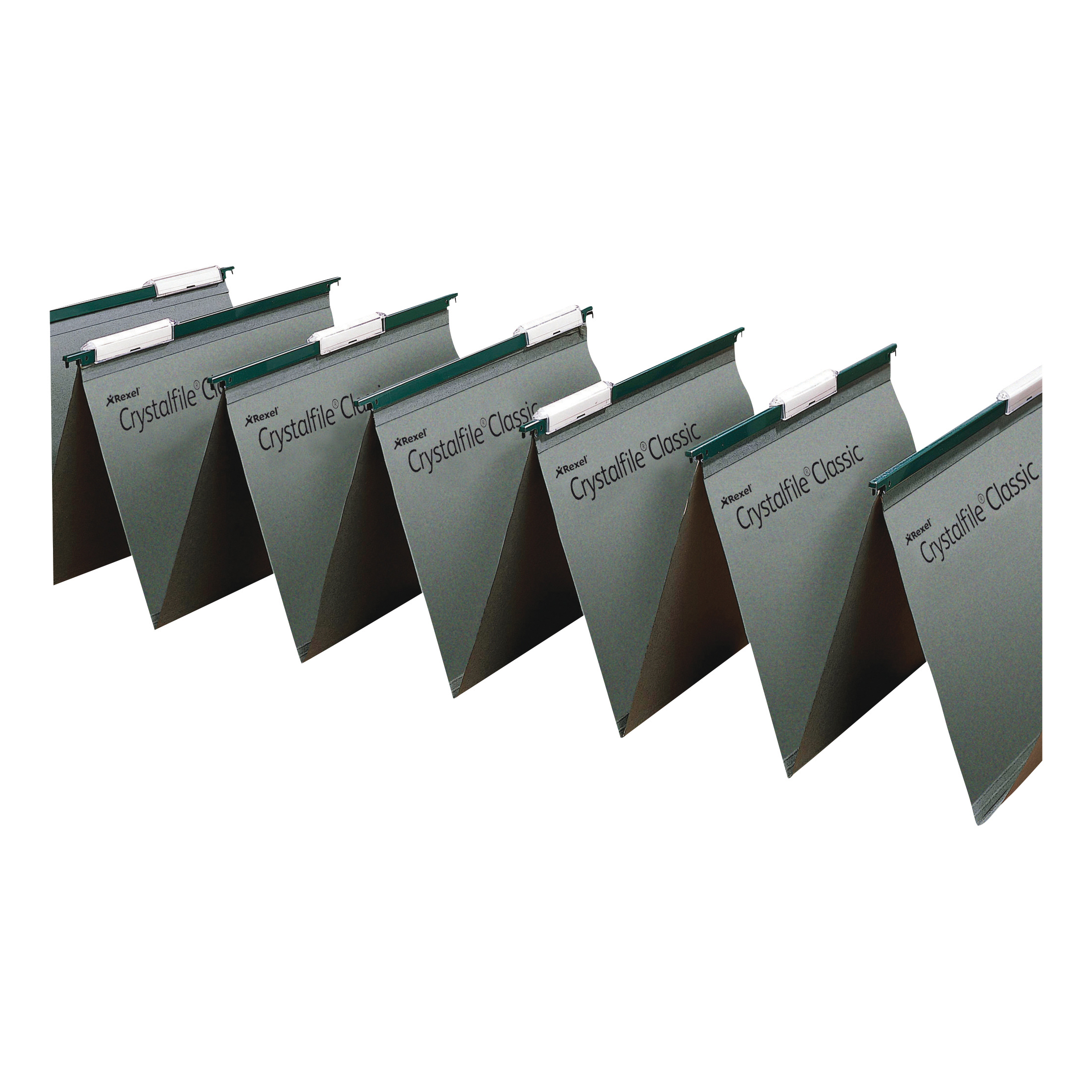 Rexel Crystalfile Classic Linked Suspension File Manilla V-base Foolscap Green Ref 78650 [Pack 50]