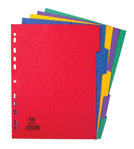 Elba Heavyweight 225gsm Pressboard Dividers Europunched 5-Part A4 Assorted Ref 400007512