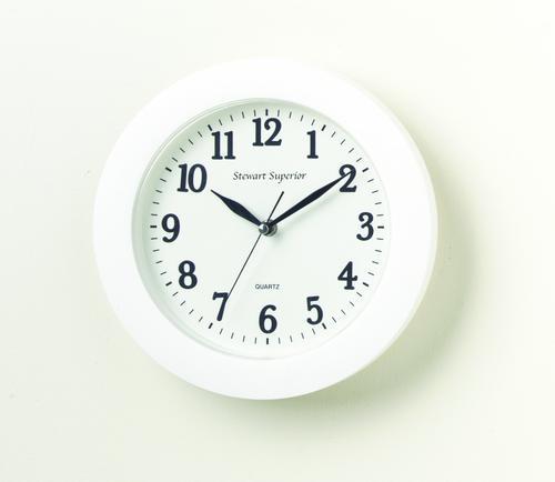 5 Star Facilities Wall Clock Plastic 12 Hour Dial Diameter 250mm White