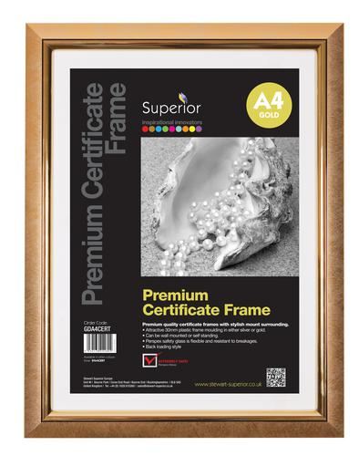 5 Star Facilities Snap De Luxe Certificate Frame Holds Standard A4 Certificates W210xD25xH297mm Gold