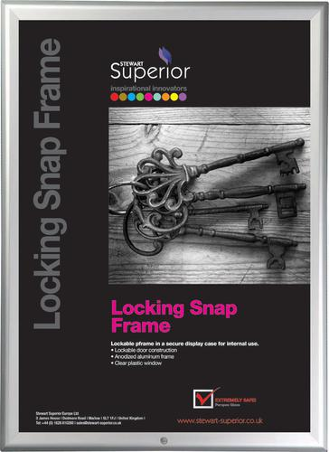 5 Star Office Snap Locking Frame with Allen Key & Screws Front-loading A4 250x15x340mm Silver