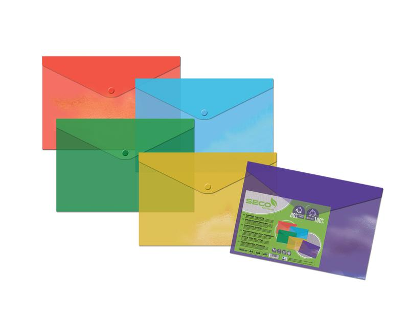 SECO 100% Oxo Bioderadable Popper Wallet Polypropylene A4 Plus Translucent Assorted Colours (Pack 5)