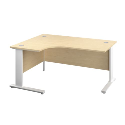 1200X1200 Cable Managed Upright Left Hand Radial Desk Maple-White