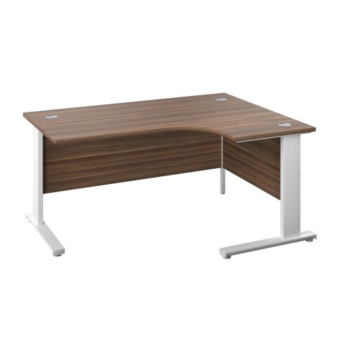 1200X1200 Cable Managed Upright Right Hand Radial Desk Dark Walnut-White