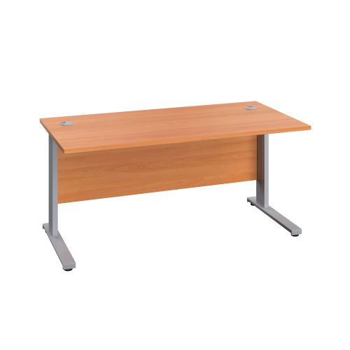 1200X800 Cable Managed Upright Rectangular Desk Beech-Silver
