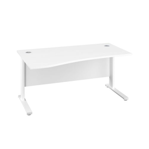 1400X1000 Cable Managed Upright Left Hand Wave Desk White-White