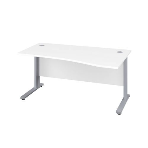 1400X1000 Cable Managed Upright Right Hand Wave Desk White-Silver