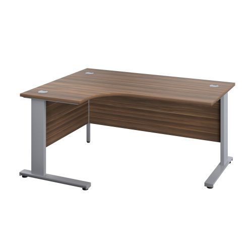 1400X1200 Cable Managed Upright Left Hand Radial Desk Dark Walnut-Silver