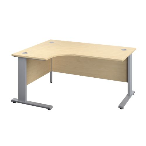 1400X1200 Cable Managed Upright Left Hand Radial Desk Maple-Silver