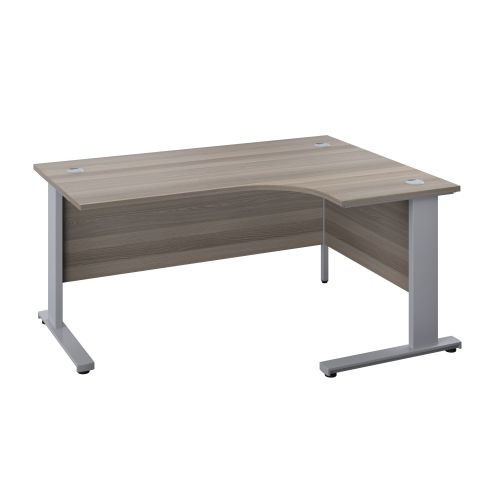 1400X1200 Cable Managed Upright Right Hand Radial Desk Grey Oak-Silver