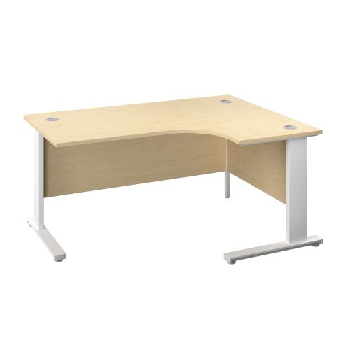 1400X1200 Cable Managed Upright Right Hand Radial Desk Maple-White