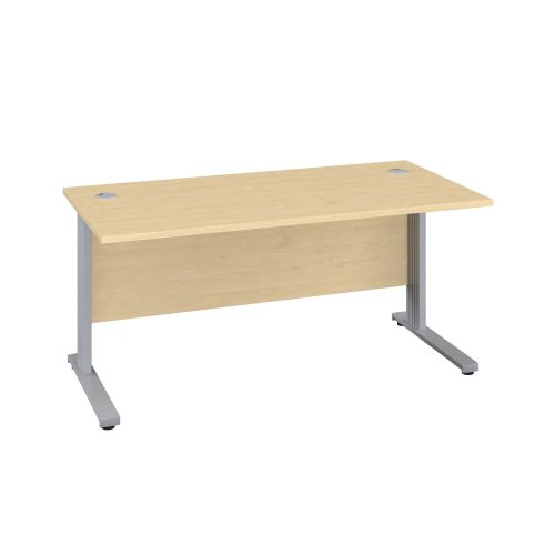 1400X600 Cable Managed Upright Rectangular Desk Maple-Silver