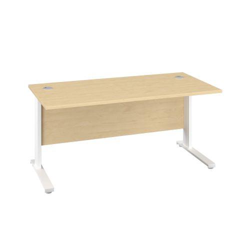 1400X600 Cable Managed Upright Rectangular Desk Maple-White