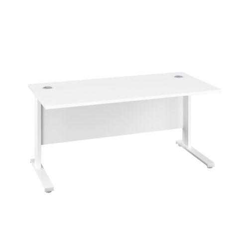 1400X600 Cable Managed Upright Rectangular Desk White-White