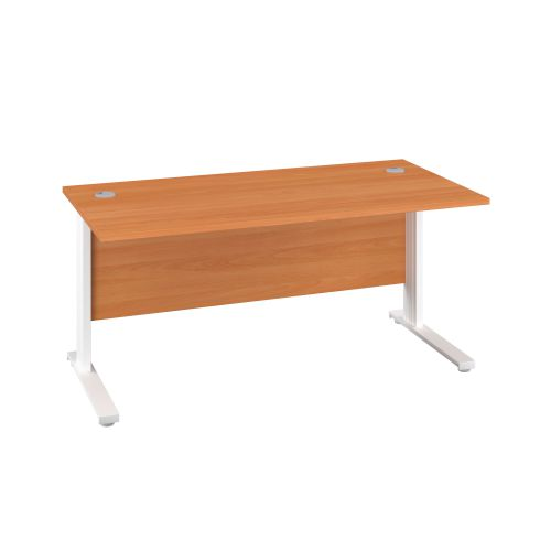 1400X800 Cable Managed Upright Rectangular Desk Beech-White