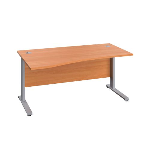 1600X1000 Cable Managed Upright Left Hand Wave Desk Beech-Silver