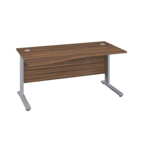 1600X1000 Cable Managed Upright Left Hand Wave Desk Dark Walnut-Silver