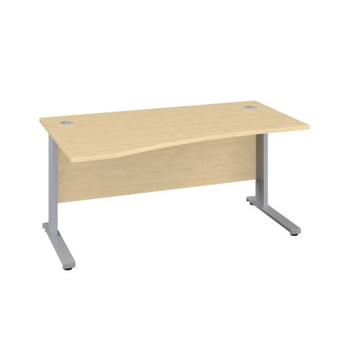 1600X1000 Cable Managed Upright Left Hand Wave Desk Maple-Silver