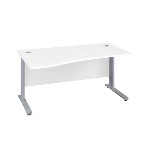 1600X1000 Cable Managed Upright Left Hand Wave Desk White-Silver