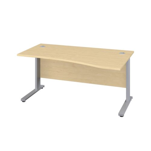 1600X1000 Cable Managed Upright Right Hand Wave Desk Maple-Silver