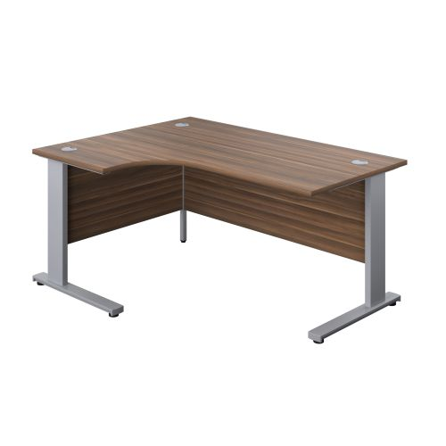 1600X1200 Cable Managed Upright Left Hand Radial Desk Dark Walnut-Silver