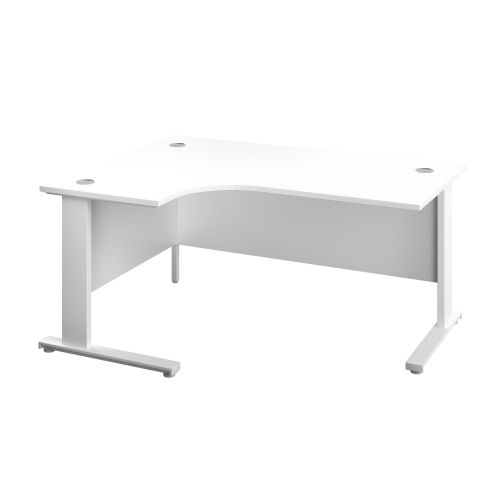 1600X1200 Cable Managed Upright Left Hand Radial Desk White-White