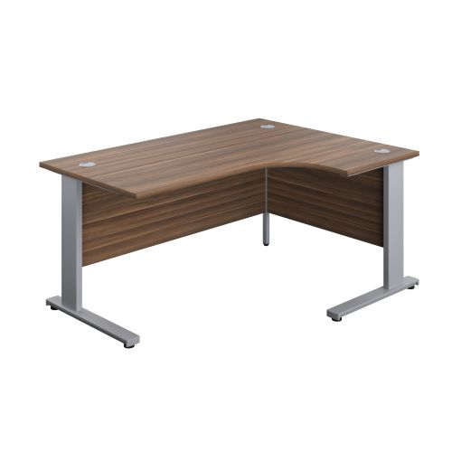 1600X1200 Cable Managed Upright Right Hand Radial Desk Dark Walnut-Silver