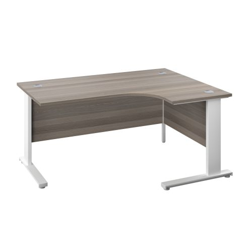 1600X1200 Cable Managed Upright Right Hand Radial Desk Grey Oak-White