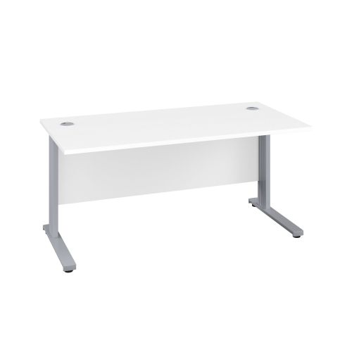 1600X600 Cable Managed Upright Rectangular Desk White-Silver