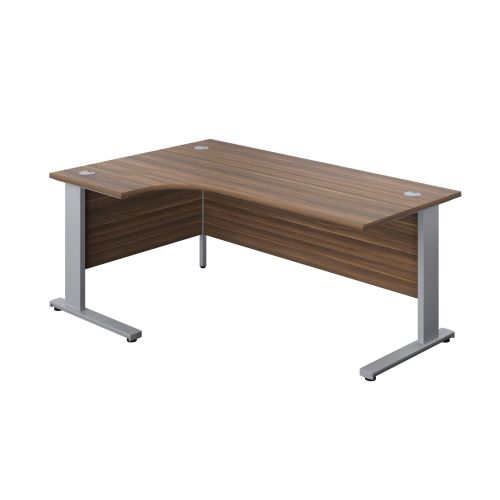 1800X1200 Cable Managed Upright Left Hand Radial Desk Dark Walnut-Silver
