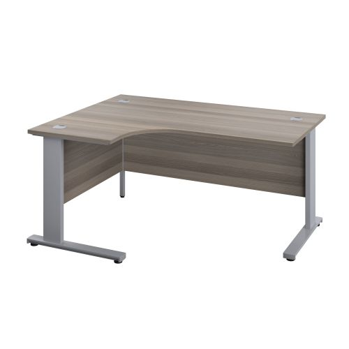 1800X1200 Cable Managed Upright Left Hand Radial Desk Grey Oak-Silver
