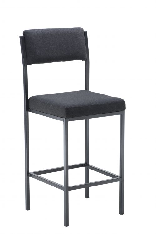 Cube High Stools With Back Rest Charcoal
