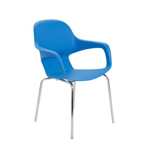 Ariel 2 Blue 4 Chrome Round Leg