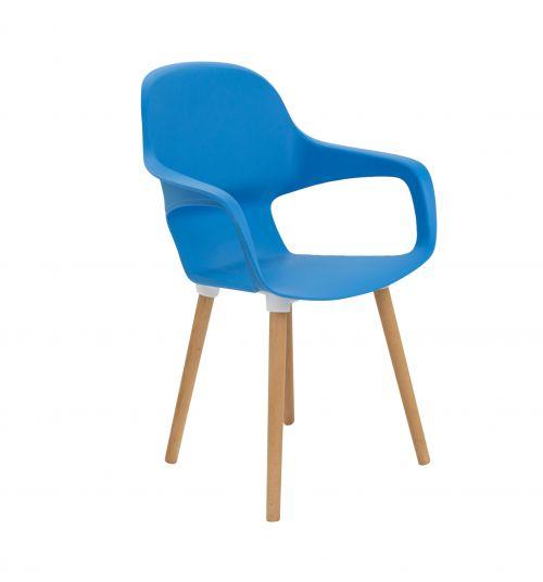 Ariel 2 Blue 4 Wooden Round Leg