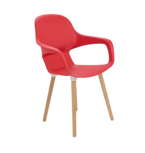 Ariel 2 Dark Red 4 Wooden Round Leg