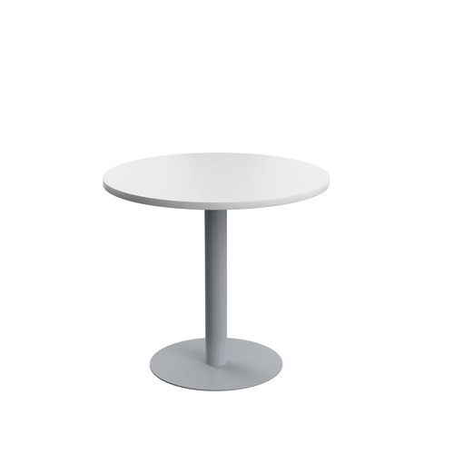 800mm Round Table - White MFC Top and Silver Base